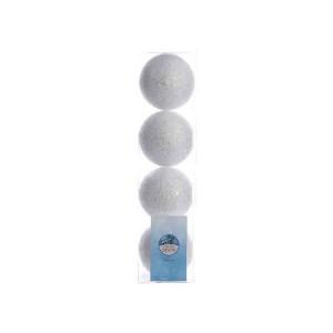 Kaemingk Foam Glitter Bauble White/Silver 8cm (4 Pack)