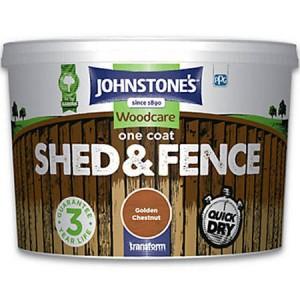 Johnstones One Coat Shed & Fence Paint 5L Golden Chestnut