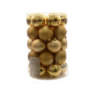 Kaemingk Plain Shatterproof Baubles Mixed Tube Light Gold 80mm