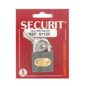 Securit S1120 Brass Cylinder Tricircle Iron Padlock 32mm