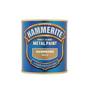 Hammerite Metal Paint 250ml Hammered Gold