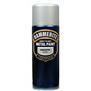 Hammerite Metal Spray Paint 400ml Smooth Silver