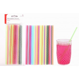 Plastic Reusable Straws (24 Pack)