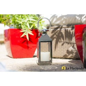 La Hacienda Palma Stainless Steel Outdoor Lantern 26cm