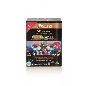 Battery Operated Christmas Lights (50) Multi-Colour