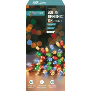 Christmas Battery Operated Lights (200) Multi-Coloured