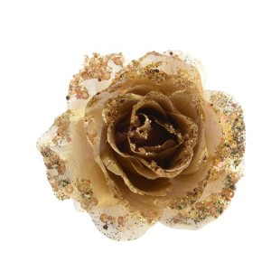 Kaemingk Glitter Rose On Clip Light Gold