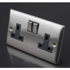 Lyvia 13A 2 Gang Switch Socket Stainless Steel