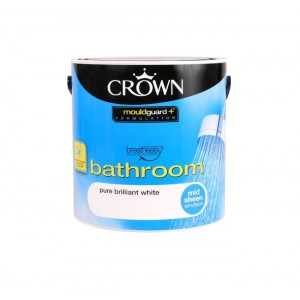 Crown Bathroom Paint 2.5L Brilliant White (Mid-sheen)
