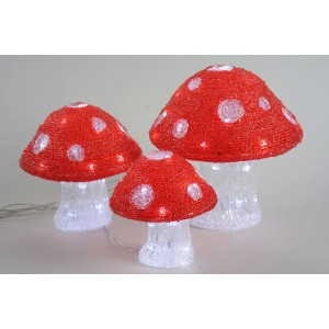 Kaemingk Outdoor LED Acrylic Mushroom Set (3 Pack)