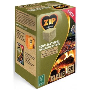 Zip 100% Natural Individual Firelighter Cubes (20 Pack)