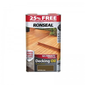 Ronseal Ultimate Protection Decking Oil 4L (+ 25% Free) Natural Oak