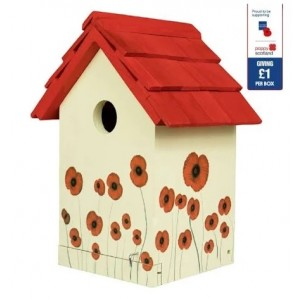 Gardman Wooden Red Poppy Wild Bird House Nest Box