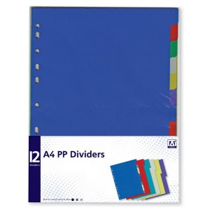 Anker A4 PP Dividers (12 Pack) Assorted