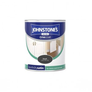 Johnstones One Coat Satin Paint 750ml Black