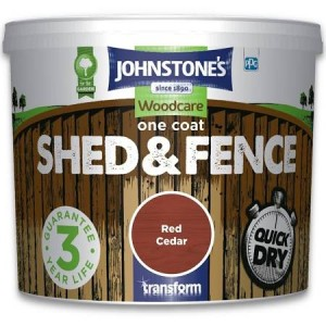Johnstones One Coat Shed & Fence Paint 5L Red Cedar