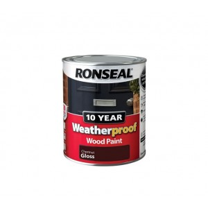 Ronseal 10 Year Weatherproof Wood Paint 750ml Chestnut Gloss