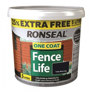 Ronseal One Coat Fence Life 5L Tudor Black Oak