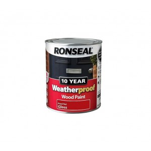 Ronseal 10 Year Weatherproof Wood Paint 750ml Red Gloss