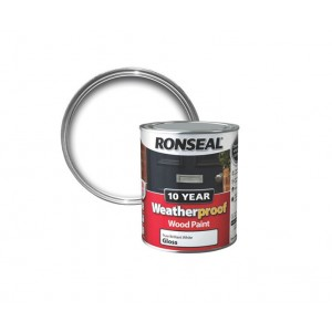 Ronseal 10 Year Weatherproof Wood Paint 750ml Pure Brilliant White Gloss