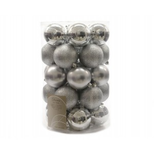 Kaemingk Plain Shatterproof Baubles Mixed Tube Silver 80mm