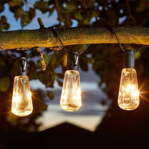 Eureka! Vintage Lightbulb Solar String Lights, 10 Bulbs