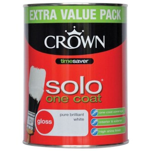 Crown Solo Gloss Paint 1.25L Brilliant White