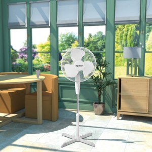 "SupaCool Oscillating Standing Fan 16"" White"