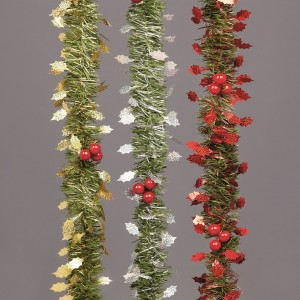 Tinsel Holly Garland 2.7m