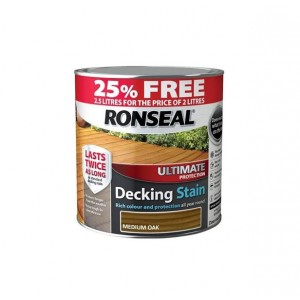 Ronseal Ultimate Protection Decking Stain 2L ( +25% Extra) Medium Oak