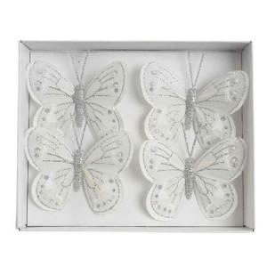 Kaemingk Glitter Butterfly On Wire 8 x 6cm White (4 Pack)