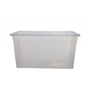 Whitefurze Spacemaster Maxi Storage Box 75cm x 41cm x 38cm Clear