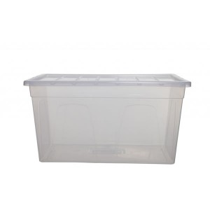 Whitefurze Spacemaster Midi Storage Box 56cm x 25cm x 38cm Clear