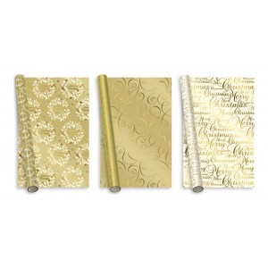 Gold Foil Christmas Wrap 2m
