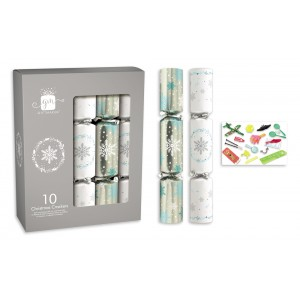 """Christmas Crackers 12"""" (10 Pack) Silver/White"""