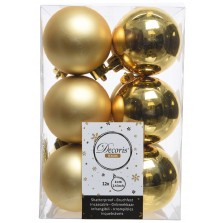 Christmas Shatterproof Baubles (12 pack) Gold