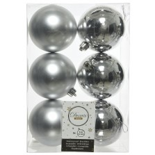 Christmas Shatterproof Baubles (6 Pack) Silver