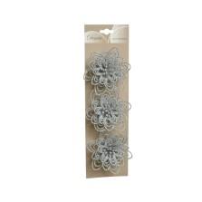 Christmas Glitter Flower on Clip 10cm Silver (3 Pack)