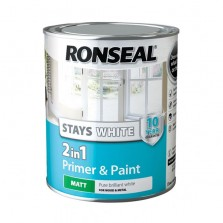 Ronseal Stays White 2 in 1 Primer & Paint 2.5L White Matt