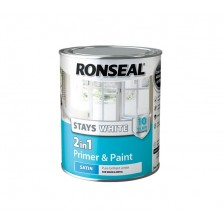 Ronseal Stays White 2 in 1 Primer & Paint 750ml White Satin