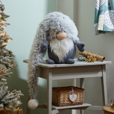 Christmas Super Furry Winter Stripe Gonk - Grey