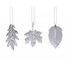 Christmas Assorted Hanging Leaf (3 Pack) Silver