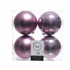 Christmas Baubles 10cm (4 Pack) Cloudy Lilac