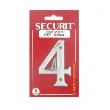 Securit S2964 75mm Numeral 4 (Chrome)