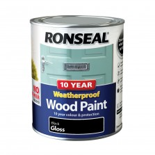 Ronseal 10 Year Weatherproof Wood Paint 750ml Black Gloss