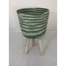 Green Woven Planter Large