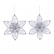 Christmas Glitter Crystal Flower 16.5cm  Assorted Silver