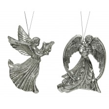 Christmas Hanging Antique Angel - Silver
