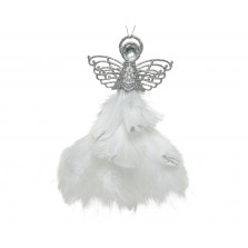 Christmas Glitter Feather Angel 21cm Silver