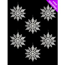 Christmas Glitter Hanging Snowflakes (6 Pack) White